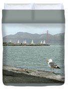 Seagull And Golden Gate Bridge Duvet Cover