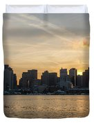 Seagull Flying At Sunset With The Skyline Of Boston On The Backg Duvet Cover