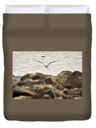 Seagull Flying Into Ocean Jetty Duvet Cover
