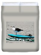 Seagull On A Surfboard Duvet Cover