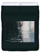 Seagull Reflection Over Blue Bay Duvet Cover