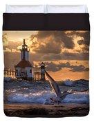 Seagull Takeoff - Tiscornia Beach  Duvet Cover