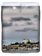 Seagull Under The Moon Light Of Mediterranean Sea Duvet Cover