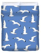 Seagulls Gathering At The Cricket Duvet Cover