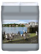 seagulls near a pond in the center of Reykjavik Duvet Cover