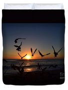 Seagulls Silhouettes Duvet Cover