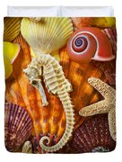 Seahorse And Assorted Sea Shells Duvet Cover