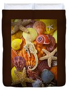 Seahorse And Assorted Sea Shells Duvet Cover by Garry Gay
