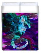 Seahorse In A Lightning Storm Duvet Cover