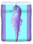 Seahorse Painting On Blue Background Duvet Cover