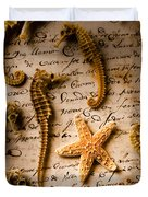 Seahorses And Starfish On Old Letter Duvet Cover