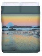 Seal Rock Moonset Duvet Cover