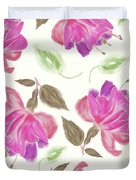 seamless   pattern of watercolor Fuchsia Flowers Duvet Cover