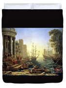 Seaport With The Embarkation Of Saint Ursula  Duvet Cover
