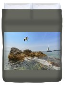 Seascape With A Yacht Duvet Cover