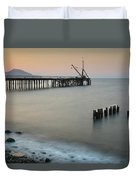 Seascape With Deserted Jetty During Sunset Duvet Cover