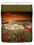 Seascape With Poppies Duvet Cover