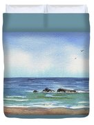 Seascape With Three Rocks Duvet Cover