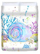 Seashells And Coral Watercolor Duvet Cover