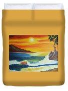 Seashore And Sunrise Duvet Cover