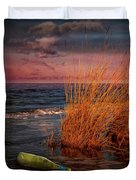 Seaside Bottle At Sunset Duvet Cover
