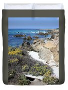 Seaside Flowers And Rocky Shore Duvet Cover