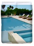Seaside Swimming Pool As A Silk Screen Image Duvet Cover