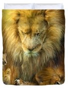 Seasons Of The Lion Duvet Cover by Carol Cavalaris