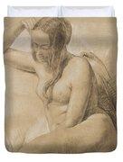 Seated Female Nude Duvet Cover