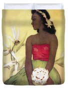 Seated Hula Dancer Duvet Cover