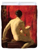 Seated Male Model Duvet Cover by William Etty