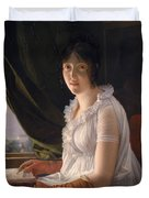 Seated Portrait Of Marie Philippe Claude Walbonne Duvet Cover
