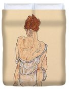 Seated Woman In Underwear Duvet Cover