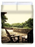 Seating For Two By The Creek Duvet Cover