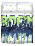 Seattle 12th Man Legion Of Boom Watercolor Duvet Cover