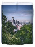 Seattle And Mt. Rainier Vertical Duvet Cover