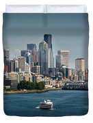 Seattle By Ferry Duvet Cover