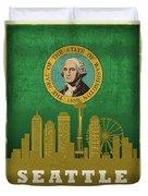Seattle City Skyline State Flag Of Washington Art Poster Series 017 Duvet Cover