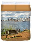 Seattle City Skyline View From Alki Beach Duvet Cover
