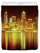 Seattle Panorama Reflection In Elliot Bay Duvet Cover by Tim Rayburn