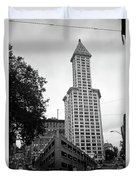 Seattle - Pioneer Square Tower Bw Duvet Cover