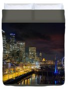 Seattle Skyline By The Pier Duvet Cover