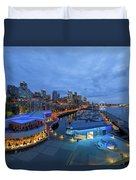 Seattle Skyline From The Waterfront At Blue Hour Duvet Cover