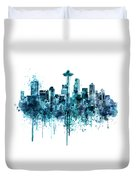 Seattle Skyline Monochrome Watercolor Duvet Cover