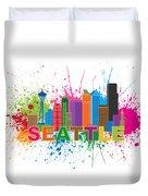Seattle Skyline Paint Splatter Text Illustration Duvet Cover