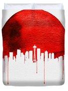 Seattle Skyline Red Duvet Cover
