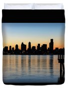 Seattle Skyline Silhouette At Sunrise From The Pier Duvet Cover