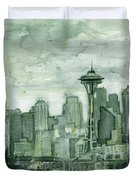 Seattle Skyline Watercolor Space Needle Duvet Cover