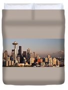Seattle Sunset Panorama Duvet Cover