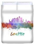 Seattle V2 Skyline In Watercolor Duvet Cover